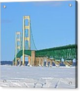 Mackinac Bridge On Ice Acrylic Print