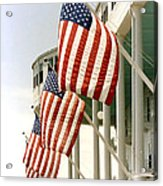 Mackinac Island Michigan - The Grand Hotel - American Flags Acrylic Print