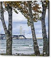 Mackinaw Bridge In Autumn By The Straits Of Mackinac Acrylic Print