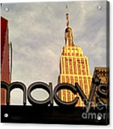 Macy's With Empire State Building - Famous Buildings And Landmarks Of New York City Acrylic Print