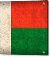 Madagascar Flag Vintage Distressed Finish Acrylic Print