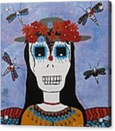 Madame Dragonfly Day Of The Dead Acrylic Print