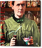 Madame Marie Curie Shaking Up A Killer Martini At The Swank Hipster Club 88 20140625 With Text Acrylic Print