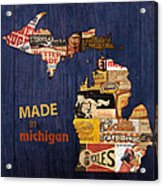 Made In Michigan Products Vintage Map On Wood Acrylic Print