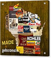 Made In Wisconsin Products Vintage Map On Wood Acrylic Print
