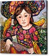 Madeline with flowers and birds Acrylic Print