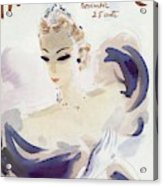 Mademoiselle Cover Featuring A Woman In A Gown Acrylic Print by Helen Jameson Hall