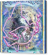 Madonna Dove Chalice And Logos Over Globe Holiday Art With Text Acrylic Print
