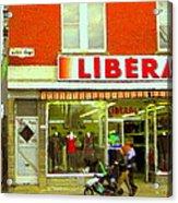 Magazin Liberal Notre Dame Ouest Dress Shop Strolling  St. Henri  Street Scenes Carole Spandau Acrylic Print