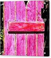 Magenta Painted Door In Garden  Acrylic Print