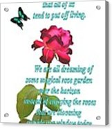 Magenta Red Rose With Butterfly And Quote Acrylic Print