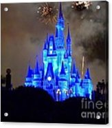 Magic Kingdom Castle In Deep Blue With Fireworks Acrylic Print
