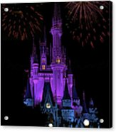 Magic Kingdom Castle In Purple With Fireworks 01 Acrylic Print