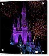 Magic Kingdom Castle In Purple With Fireworks 02 Acrylic Print