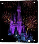 Magic Kingdom Castle In Purple With Fireworks 03 Acrylic Print