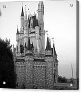 Magic Kingdom Castle Side View In Black And White Acrylic Print