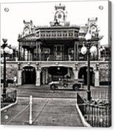 Magic Kingdom Train Station In Black And White Walt Disney World Acrylic Print