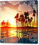 Magic Sunset In Clouds Acrylic Print