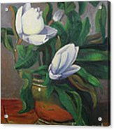 Magnolias On Brass Acrylic Print