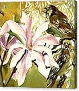 Magnolias With Sparrows Acrylic Print