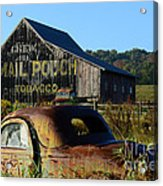 Mail Pouch Barn And Old Cars Acrylic Print