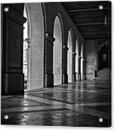 Main Building Arches University Of Texas Bw Acrylic Print