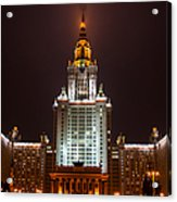 Main Building Of Moscow State University At Winter Evening - 2 Featured 3 Acrylic Print