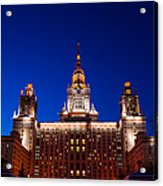 Main Building Of Moscow State University At Winter Evening - 5 Acrylic Print