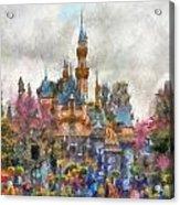 Main Street Sleeping Beauty Castle Disneyland Photo Art 02 Acrylic Print