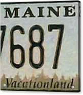Maine License Plate Acrylic Print