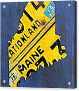 Maine License Plate Map Vintage Vacationland Motto Acrylic Print by Design Turnpike