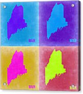 Maine Pop Art Map 2 Acrylic Print by Naxart Studio