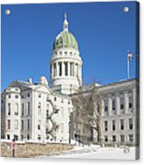 Maine State Capitol Building In Winter Augusta Acrylic Print
