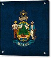 Maine State Flag Art On Worn Canvas Acrylic Print