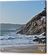 Maine Surfing Scene Acrylic Print by Meandering Photography