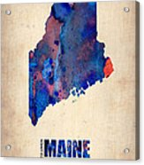 Maine Watercolor Map Acrylic Print by Naxart Studio