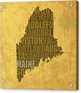 Maine Word Art State Map On Canvas Acrylic Print