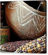 Pottery And Maize Indian Corn Still Life In New Orleans Louisiana Acrylic Print