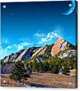 Majestic Flatirons Of Boulder Colorado With Big Moon Acrylic Print