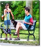 Making A New Friend In The Park Acrylic Print