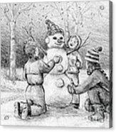 Making A Snowman Acrylic Print