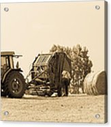 Farm - Tractor - Hay - Making The Drop Acrylic Print