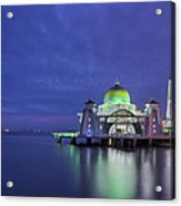 Malacca Straits Mosque At Blue Hour Acrylic Print