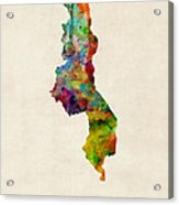 Malawi Watercolor Map Acrylic Print