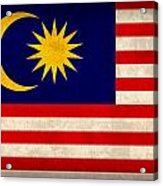 Malaysia Flag Vintage Distressed Finish Acrylic Print