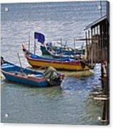 Malaysian Fishing Jetty Acrylic Print by Louise Heusinkveld
