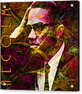 Malcolm X 20140105 With Text Acrylic Print by Wingsdomain Art and Photography