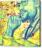 Malcolm X Drawing In Lines Acrylic Print by Pierre Louis