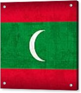 Maldives Flag Vintage Distressed Finish Acrylic Print