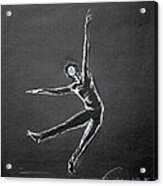 Male Dancer In White Lines On Black Acrylic Print